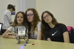 Presenting the work they have done with the robots in a science festival held in a Greek high school